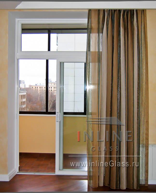 Французские пластиковые окна раздвижные на балконный блок..