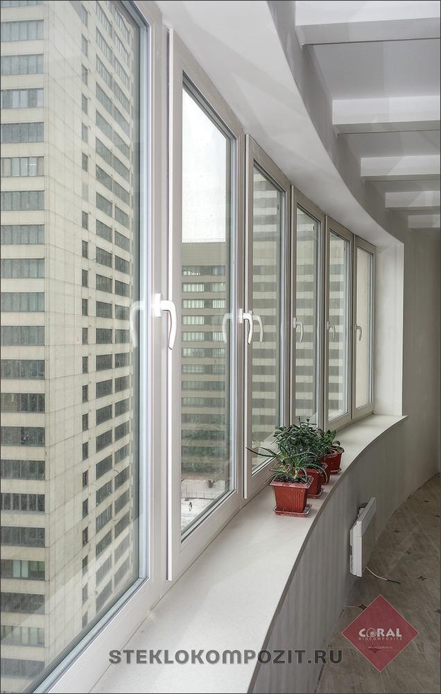 Образцы остекления угловых балконов.